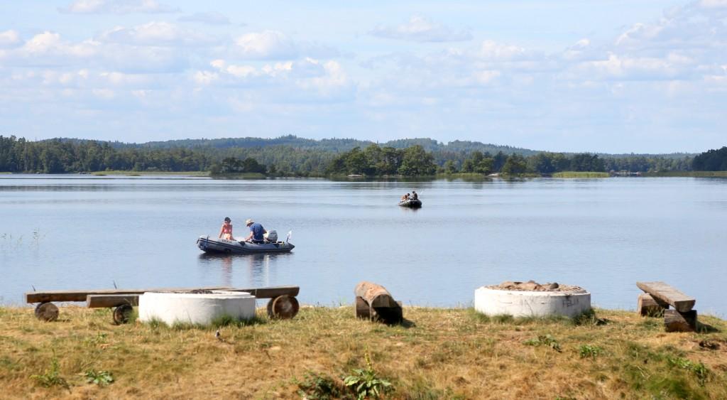 Fisketurister vid Mjölknabbens Camping.