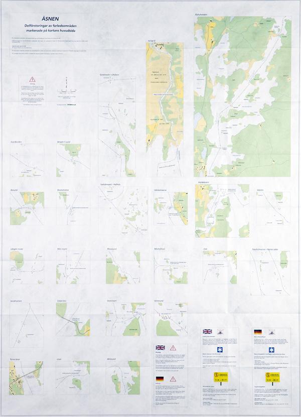 Farledskarta över Åsnen - delförstoringar från huvudsidan
